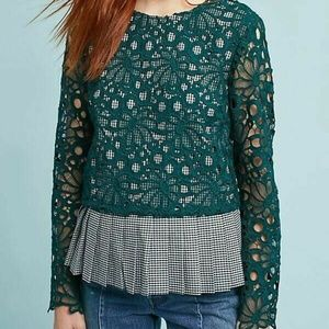 Anthropologie Maeve Gingham Layered Green Lace Top